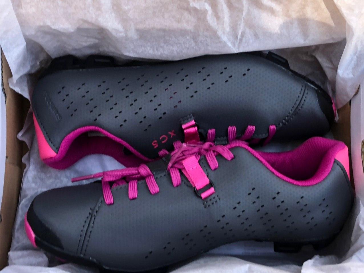 Shimano XC5 Bike Cycling Shoes Gray/Magenta 6.5