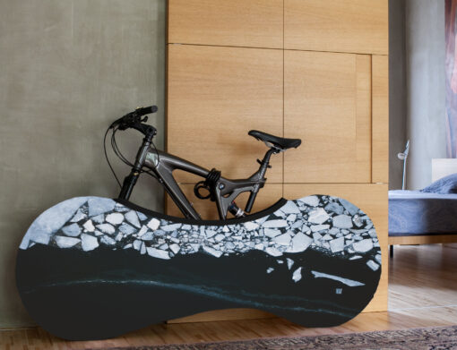 Indoor Bike Water Resistant Anti Dust Wheels Cover for Storage and Transportation - Frozen Ocean