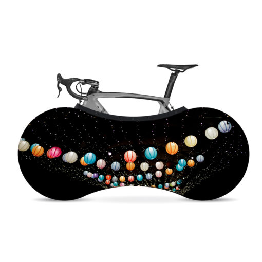 Indoor Bike Water Resistant Anti Dust Wheels Cover for Storage and Transportation - Balloons Night Glow